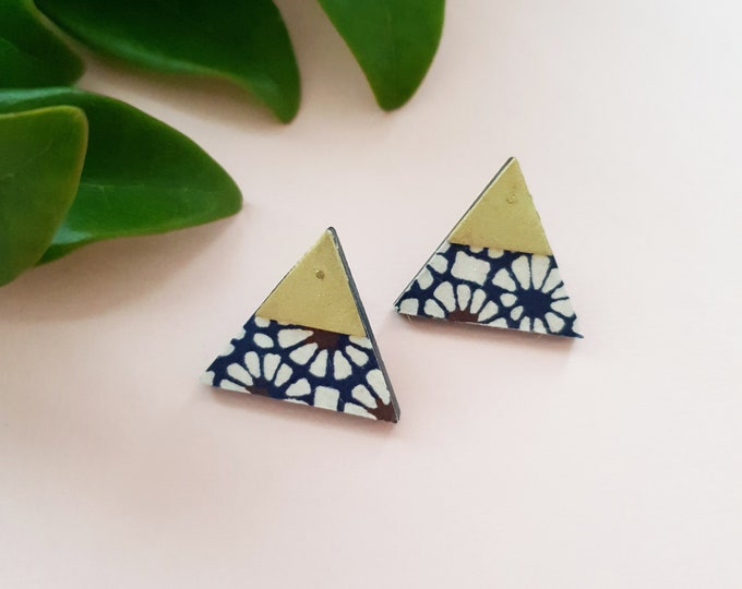 More Color Options Available! Triangle Stud Earrings, Earrings made with Wood, Origami Paper and Brass Triangle, Handmade Stud Earrings.