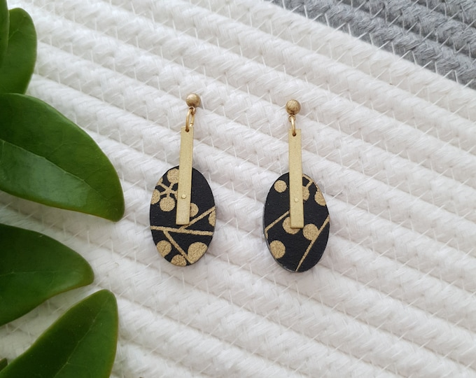 Oval Drop Earrings, Earrings made with Wood, Origami Paper and Rectangle Brass Stick, Modern Handmade Dangle Earrings.