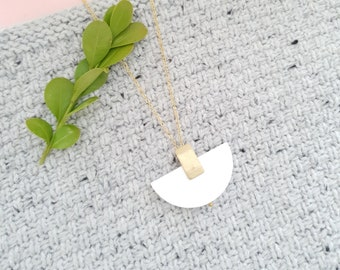 Pendant made with Wood Half Moon and Small Brass Rectangle, Plain Color Necklace With Brass Chain, Modern Handmade Pendant.