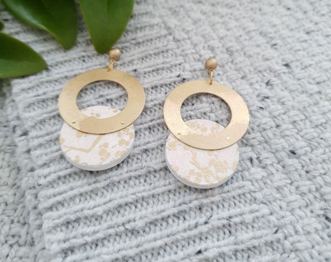 Doble Circle Drop Earrings, Earrings made with Wood, Origami Paper and Brass, Modern Handmade Dangle Earrings.