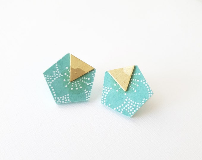 More Color Options Available! Pentagon Stud Earrings, Earrings made with Wood, Origami Paper and Brass Triangle, Handmade Stud Earrings.