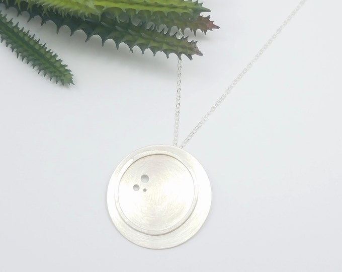 TIMOR Necklace - GEO COLLECTION - Silver Concave and Dotted Circle Necklace - Geometric Jewelry