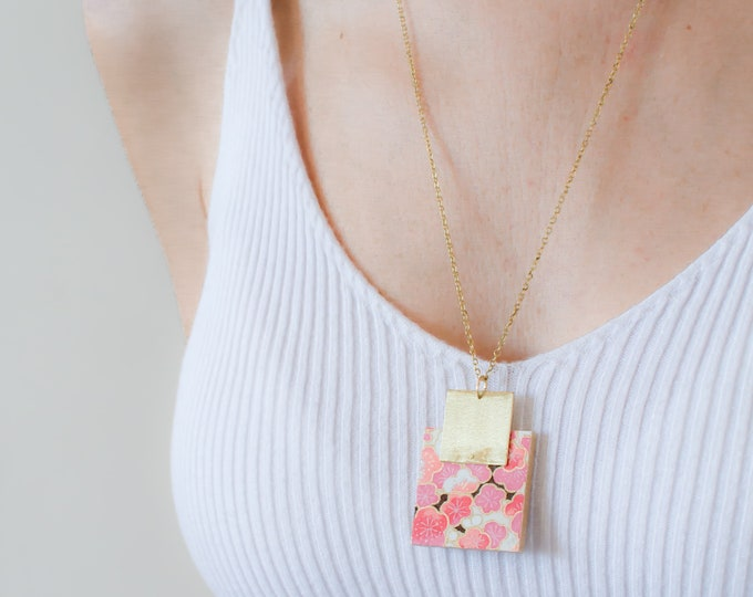 Pendant made with Wood Square, Origami Paper and Brass Square, Modern Handmade Necklace with Brass Chain.