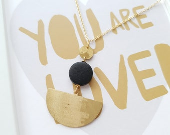 Pendant made with Small Wood Circle, Small Brass Circle and Big Brass Half Moon, Necklace With Brass Chain, Modern Handmade Pendant.