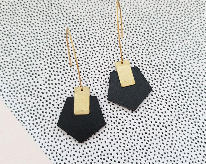 Pentagon Drop Earrings, Earrings made with Wood and Brass Rectangle, Plain Color Earrings With Brass, Modern Handmade Dangle Earrings.