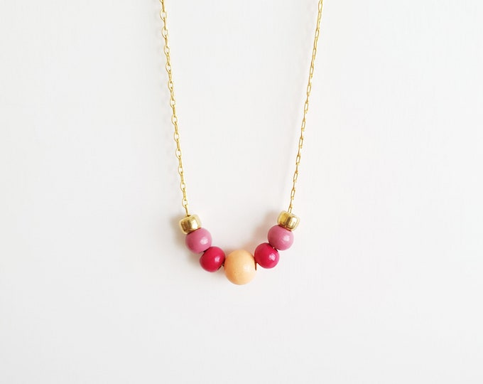 Round Wooden Bead Necklace with Brass Chain, Plain Color Bead Necklace, Handpainted Necklace.