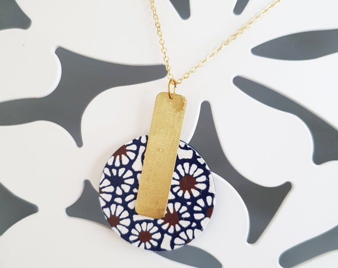 Pendant made with Big Wood Circle, Origami Paper and Big Brass Rectangle, Modern Handmade Necklace with Brass Chain.