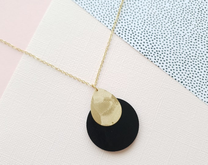 Pendant made with Medium Wood Circle and Brass Drop, Plain Color Necklace With Brass Chain, Modern Handmade Pendant.