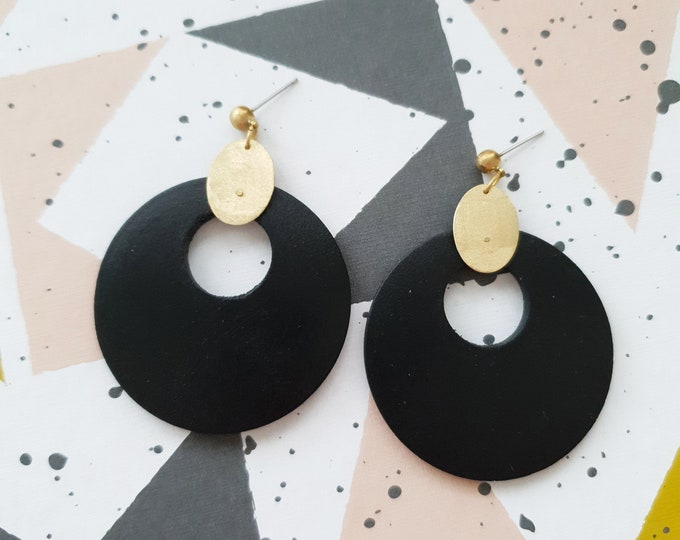 Big Circle Earrings, Earrings made with Wood and Brass Oval, Plain Color Earrings With Brass, Modern Handmade Dangle Earrings