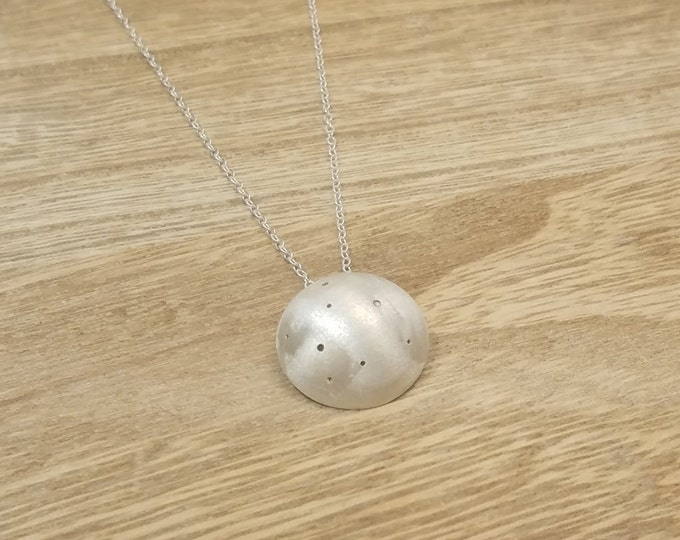 KARA Necklace - GEO COLLECTION - Dotted and Convex Silver Handmade Pendant with Silver Chain - Geometric Necklace -  Handmade Jewelry