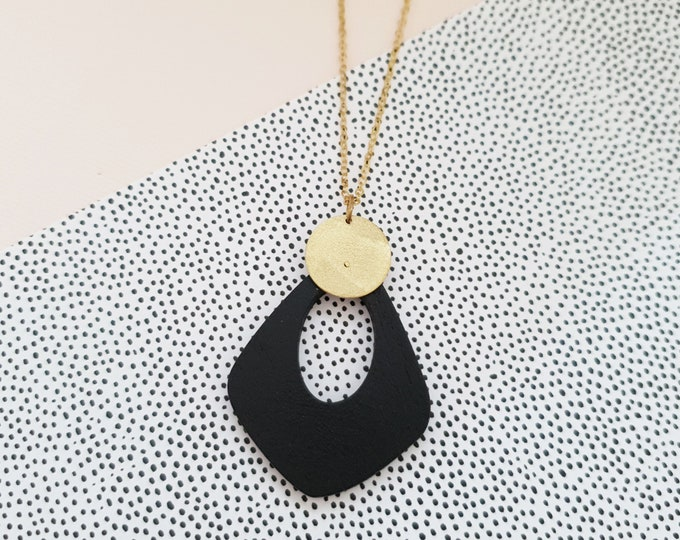 Pendant made with Wood Drop and Brass Circle, Plain Color Necklace With Brass Chain, Modern Handmade Pendant.