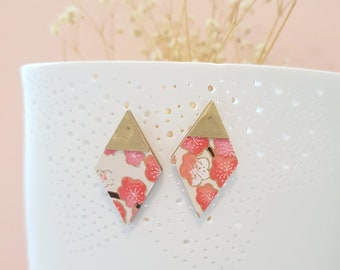 Diamond Stud Earrings, Earrings made with Wood, Origami Paper and Brass Triangle, Modern Handmade Stud Earrings.