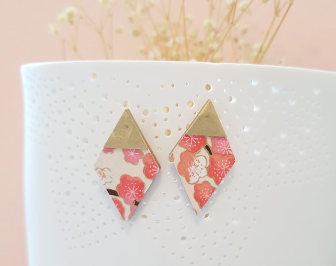 More Color Options Available! Diamond Stud Earrings, Earrings made with Wood, Origami Paper and Brass Triangle, Handmade Stud Earrings.