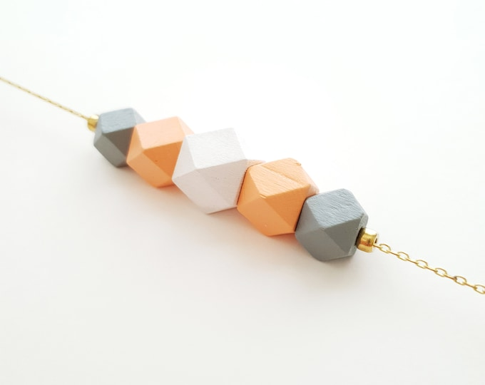 Faceted Wooden Bead Necklace with Brass Chain, Plain Color Bead Necklace, Handpainted Necklace.