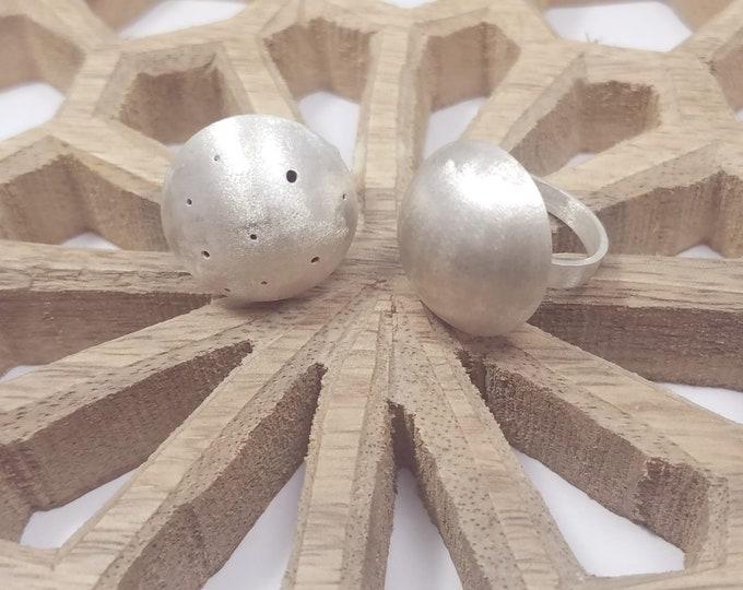 KARA Rings - GEO COLLECTION - Dotted or Plain Silver Handmade Rings - Geometric Rings -  Handmade Jewelry