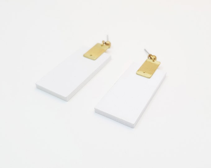 Rectangle Drop Earrings, Earrings made with Wood and Brass Rectangle, Plain Color Earrings With Brass, Modern Handmade Dangle Earrings.