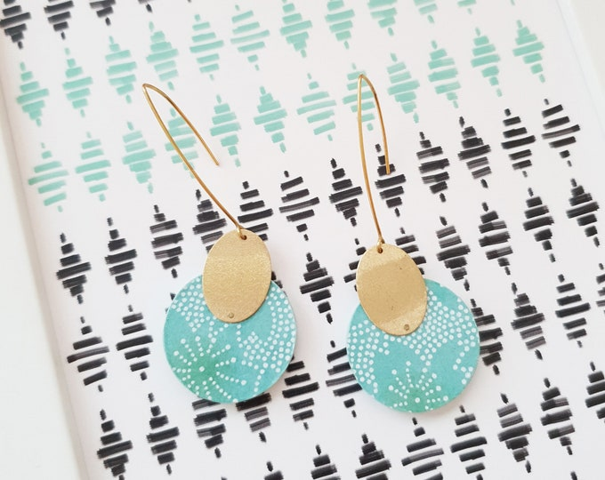 More Color Options Available! Circle Drop Earrings, Earrings made with Wood, Origami Paper and Brass Oval, Modern Handmade Dangle Earrings.