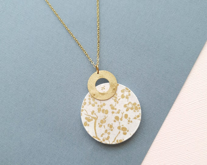 Pendant made with Big Wood Circle, Origami Paper and Small Brass Ring, Modern Handmade Necklace with Brass Chain.