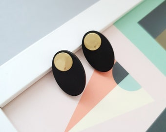 Oval Stud Earrings, Earrings made with Wood and Brass Circle, Plain Color Earrings With Brass, Modern Handmade Stud Earrings.