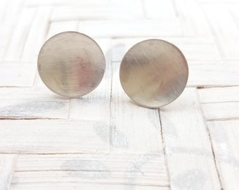 SULU 2 Earrings - GEO COLLECTION - Small Circle Handmade Earrings - Geometric Silver Earrings - Sterling Silver (925)