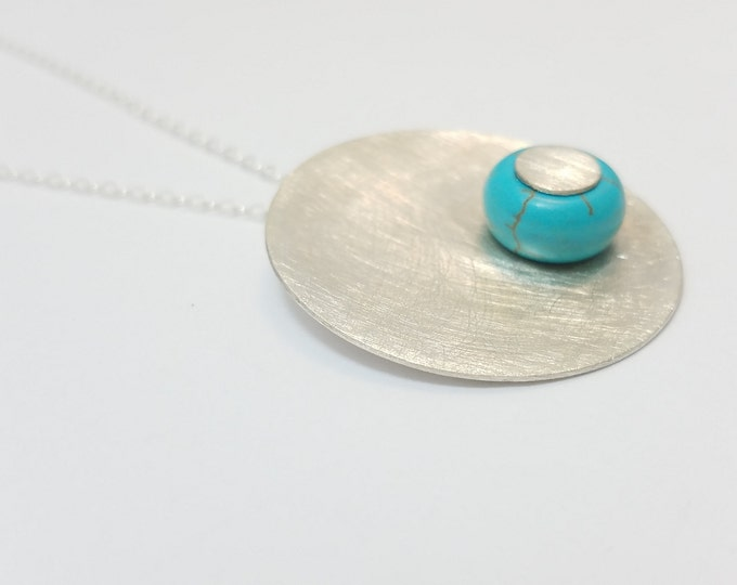 BUNT COLLECTION - Sterling Silver Circle with Turquoise Bead Necklace - Geometric and Color Necklace