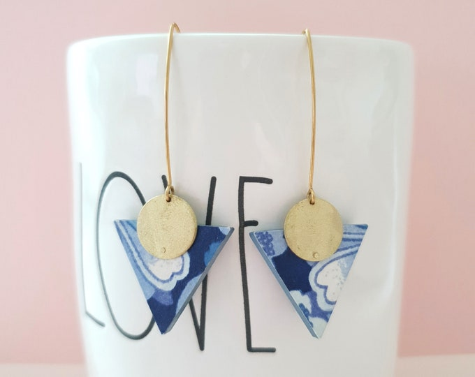 More Color Options Available! Triangle Drop Earrings, Earrings made with Wood, Origami Paper and Brass Circle, Handmade Dangle Earrings