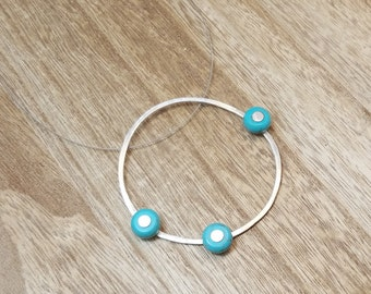 BUNT COLLECTION - Fresh Circular Silver Ring with Turquoise Beads Pendant -  Bohemian Style Necklace