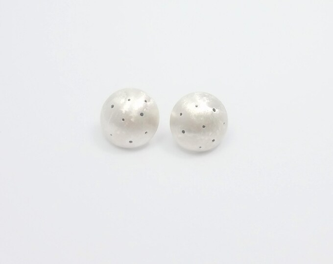 KARA Earrings - GEO COLLECTION - Dotted and Convex Silver Earrings - Geometric Stud Earrings -  Handmade Jewelry