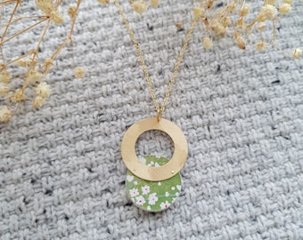 Pendant made with Small Wood Circle, Origami Paper and Big Brass Ring, Modern Handmade Necklace with Brass Chain.