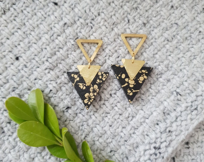More Color Options Available! Triangle Drop Earrings, Earrings made with Wood, Origami Paper and Two Brass Brass, Handmade Dangle Earrings.