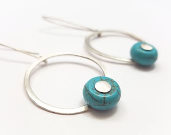 BUNT COLLECTION - Fresh Circular Silver Rings with Turquoise Beads Earrings -  Bohemian Style Earrings