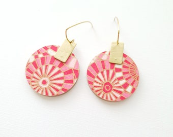 More Color Options Available! Circle Drop Earrings, Earrings made with Wood, Origami Paper and Brass Rectangle, Handmade Dangle Earrings.