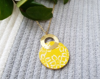 Pendant made with Big Wood Circle, Origami Paper and Medium Brass Ring, Modern Handmade Necklace with Brass Chain.