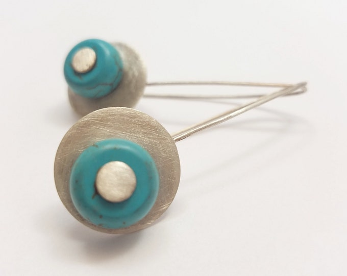 BUNT COLLECTION - Sterling Silver Circles with Turquoise Beads Earrings - Geometric and Color Earrings