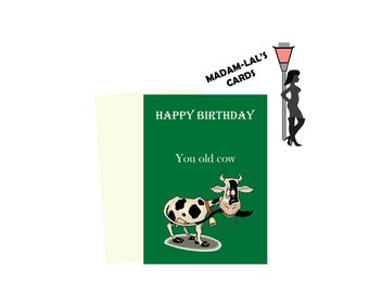 Birthday Card Funny Hunour rude fat cow old profanity