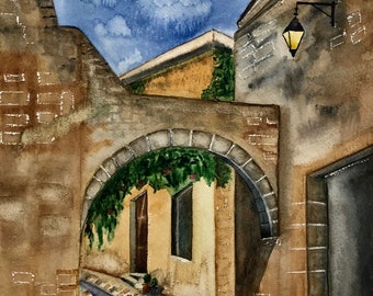 Watercolor ORIGINAL Architecture painting, Province de France, interior wall art, wall decor, art, old town, street, wall art, watercolor