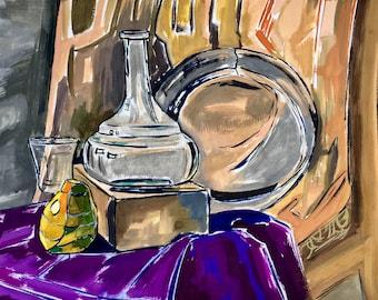 ORIGINAL FRAMED gouache still life, pear, bottle, plate, wall art, kitchen art, interior wall art, gray,beige, violet