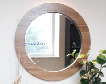 Round wall wooden framed mirror