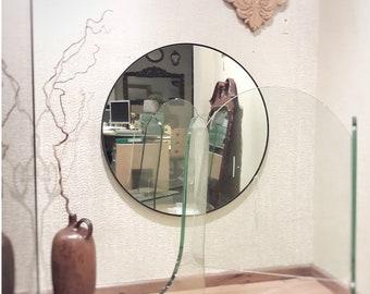 Round Mirror with Black Frame, 90cm