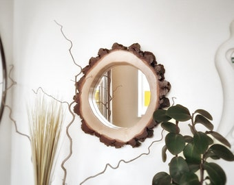 Round Mirror with a Rough Wooden Frame