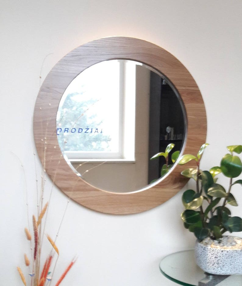 Round wall wooden framed mirror image 0