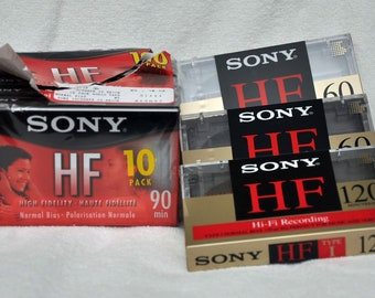 Blank Cassettes Lot of 8 - Sony HF 60, 90 and 120