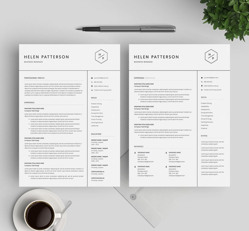 Simple CV for MS Word and Mac Pages 1 3 Page Resume Instant Download Modern CV Professional Resume Template Cover Letter Template