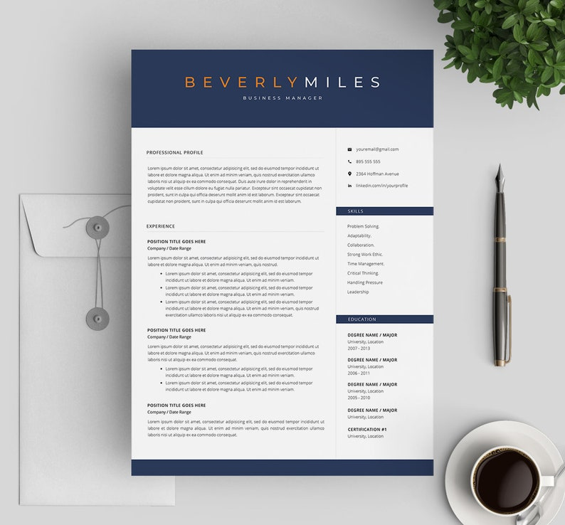 Resume Design 4 Page Pack Resume Template Professional Resume Template CV for Word and Mac Pages Modern Resume Instant Download