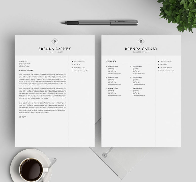 Resume Template for Word and Mac Pages Professional CV Template Resume Template and Cover Letter CV Design Instant Download