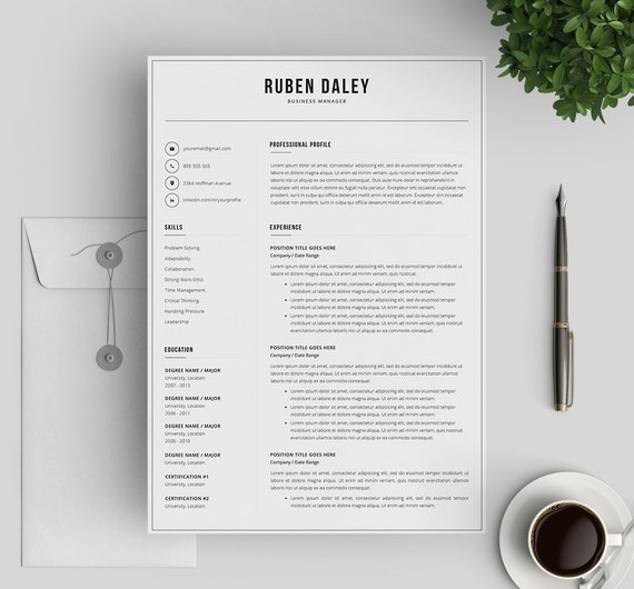 Resume Template for Word and Mac Pages | Modern Resume | Printable Resume  Template | 3 Pages Professional Resume | Instant Download
