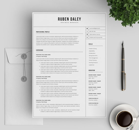 Modern Resume Template Professional Cv Template Instant Download Resume Template 3 Pages For Word And Pages Mac Pc Cover Letter