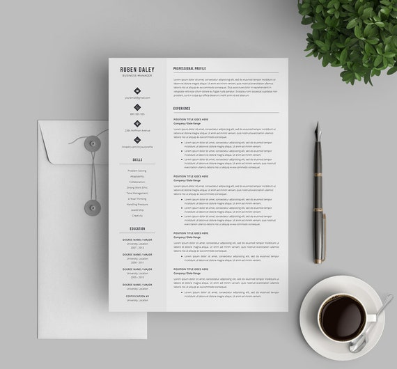 Professional Resume Template for Word and Mac Pages | Instant Download  Resume and Cover Letter Templates | Easy to edit