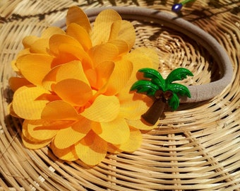 Palm tree, Sun - yellow - been - flower - applique