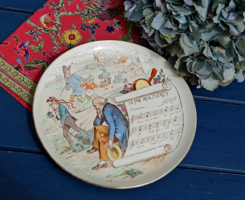 Late 1800s ~ French Antique Collectible Music Theme Talking Plate ~ Made by  CREIL MONTEREAU with the Lyrics of